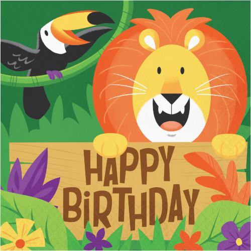 Jungle Safari Lunch Napkins Happy Birthday 2 ply Jungle Safari Creative Party