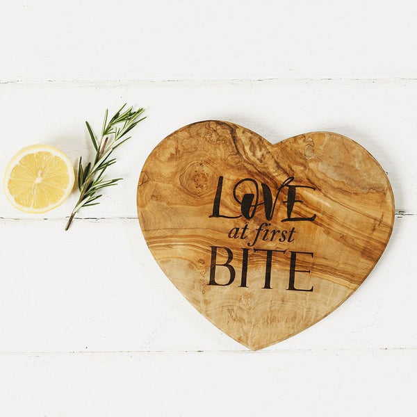 """Love at First bite"" Heart Shaped Olive Board Tableware Selbrae House"