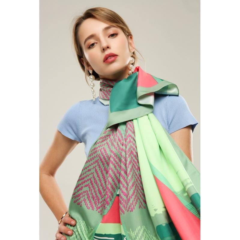 Multi Patterns Sliky Scarf - Green Scarf Powder