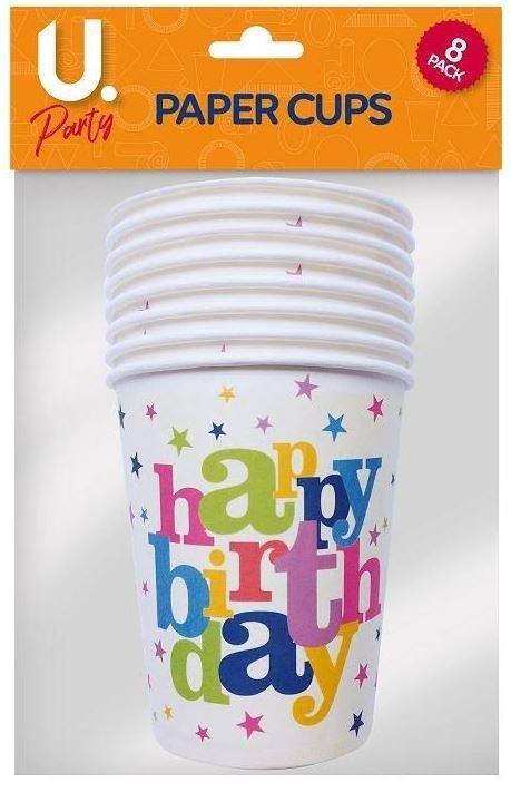 Party - Happy birthday Paper Cups Party Decorations FoxyAvenue