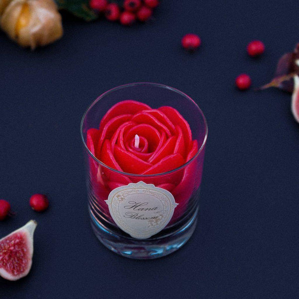 Red Rose Scented Container Candle - HoneySuckle Candles Hana Blossom