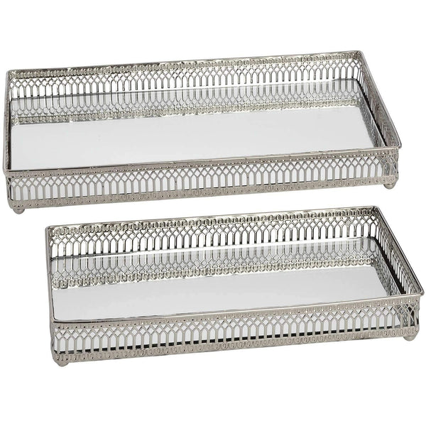 Set of Rectangular Nickel Plated Trays Trays Hill Interiors