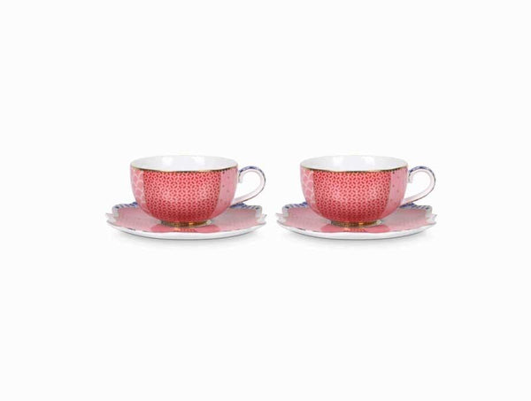 Set/2 Espresso Cups & Saucers - Royal Pink Infuser PiP Studio