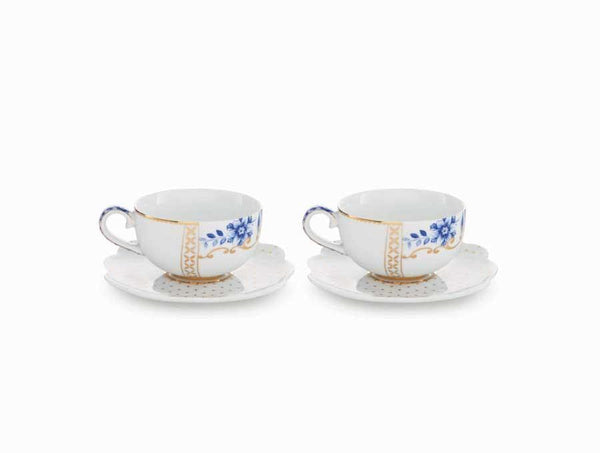 Set/2 Espresso Cups & Saucers - Royal White Infuser PiP Studio