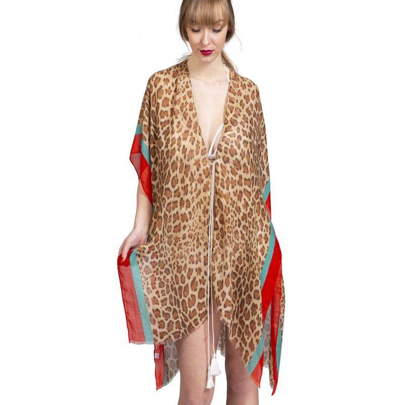 Soft Printed Pareo Sarong Dress with Leopard Pattern Sarong AngelaBaby