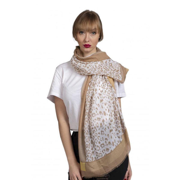 Soft Printed Scarf with Leopard Pattern Scarf Powder