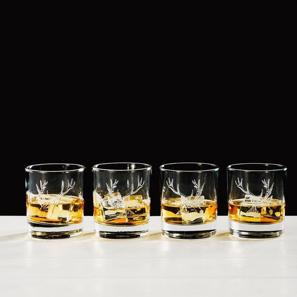 Stag Engraved Glass Tumbler Gift Set Glasses Selbrae House