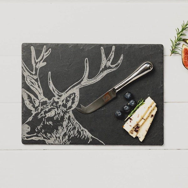 Stag Slate Cheese Board & Knife Gift Set Glasses Selbrae House