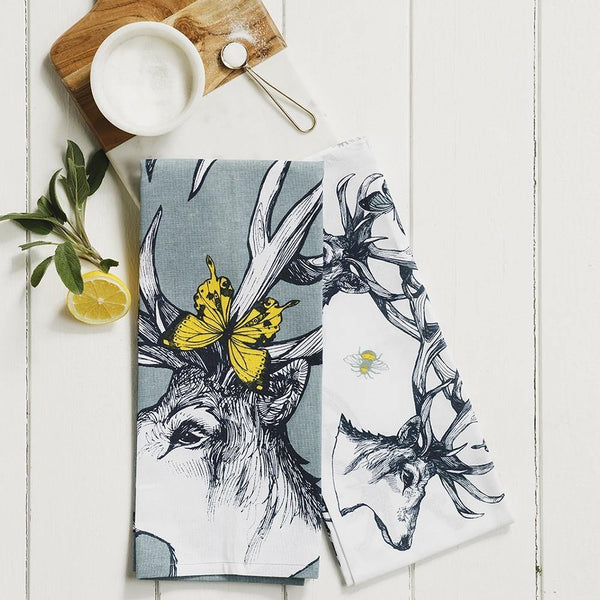 Stag with Bees & Butterflies Tea Towel Tea Towel Selbrae House