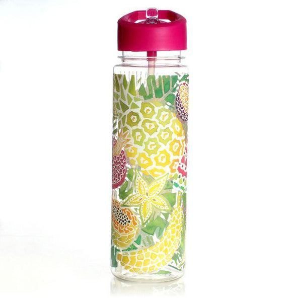 Tropical Fruit Clear Water Bottle Bamboo Cup Milly Green