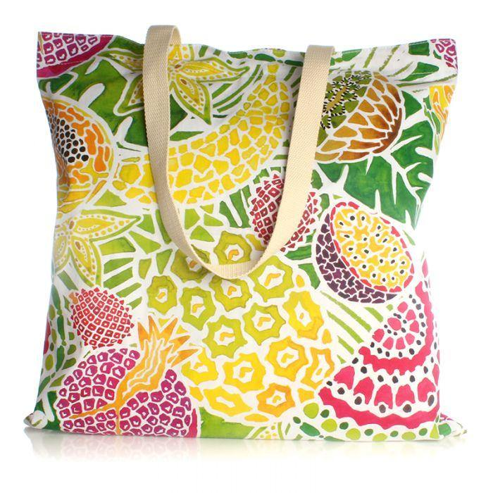 Tropical Fruit Large Canvas Shopper Bag Milly Green