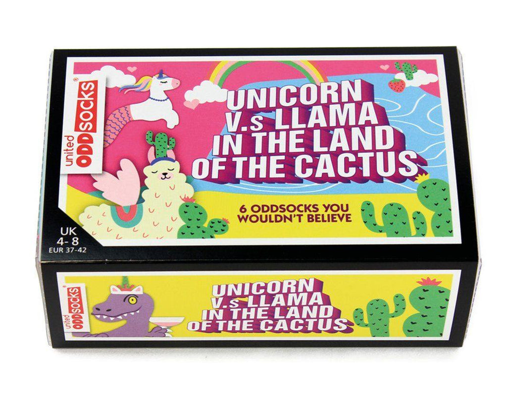 Unicorn vs Llama - Land of Cactus Socks Sock Academy
