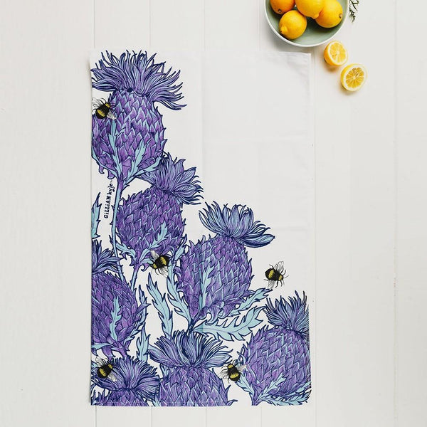 White & Lilac Thistle Tea Towel Tea Towel Selbrae House