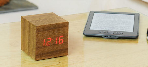 Wooden Cube Click Clock Clocks Gingko