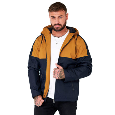 Navy Hooded Colour Block Windrunner Jacket