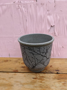 Large grey bird n twig pot