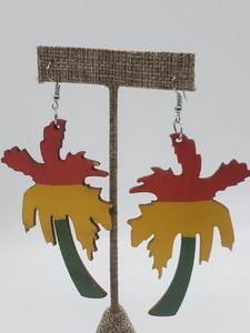 Wooden Palm Tree Earrings