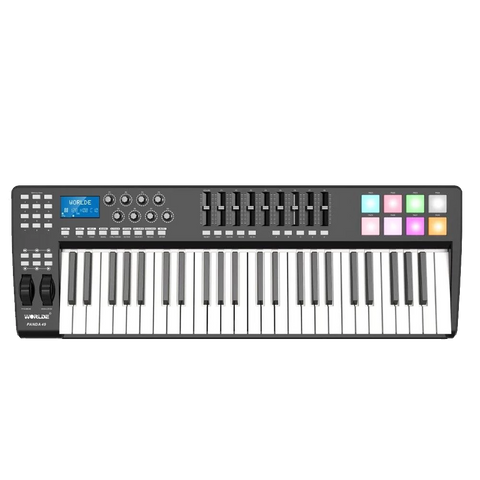 Portable 49-Key USB MIDI Keyboard Controller 8 Trigger Pads