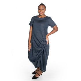 Linen Balloon Dress - Navy