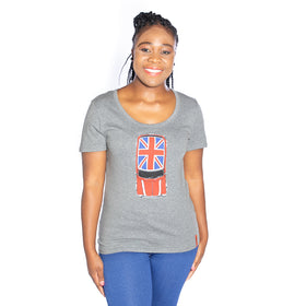Ladies Union Jack Cooper T-Shirt - Grey