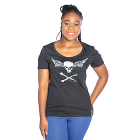 Ladies Flight Skull T-Shirt - Black