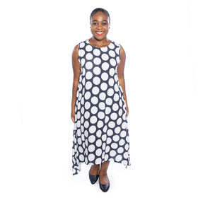 Polka Swing Dress - Navy