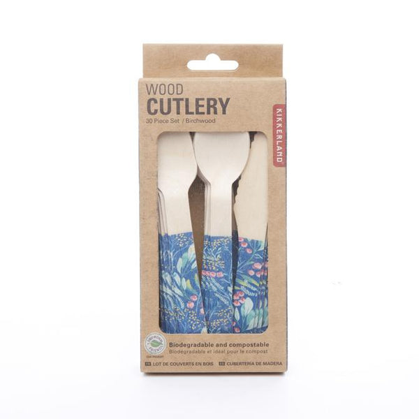 Wood Cutlery - Floral