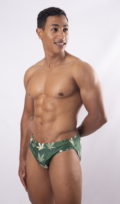 Weed Swim Briefs - Green