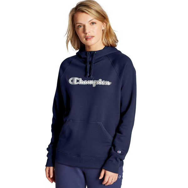 Champion USA Womens Powerblend Hooded Sweatshirt - Athletic Navy