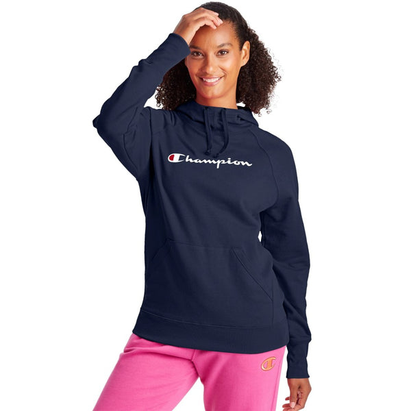 Champion USA Womens Powerblend Graphic Hooded Sweatshirt - Athletic Navy