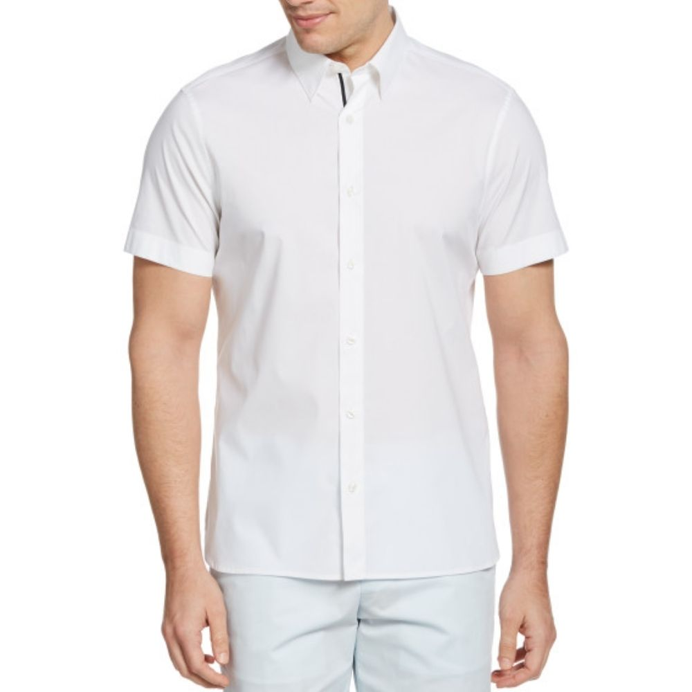 Perry Ellis Slim Solid Poplin Stretch Button Down Untuck Woven Shirt - Bright White