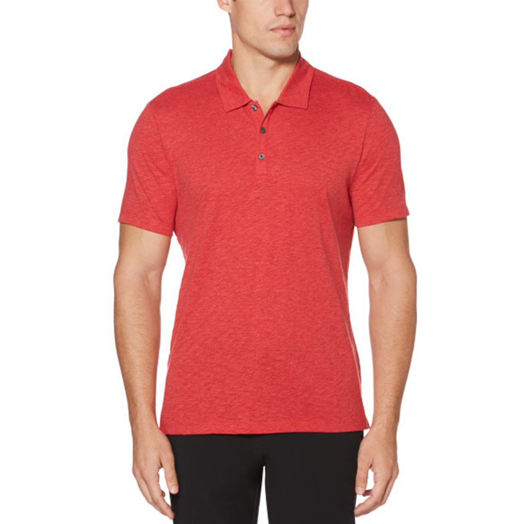 Perry Ellis Slub 3 Button Polo Shirt - Ribbon Red - ANTHEM