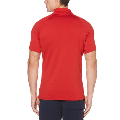 Perry Ellis Mesh Zip 360 Collection Polo Shirt - Bright Haute Red - ANTHEM