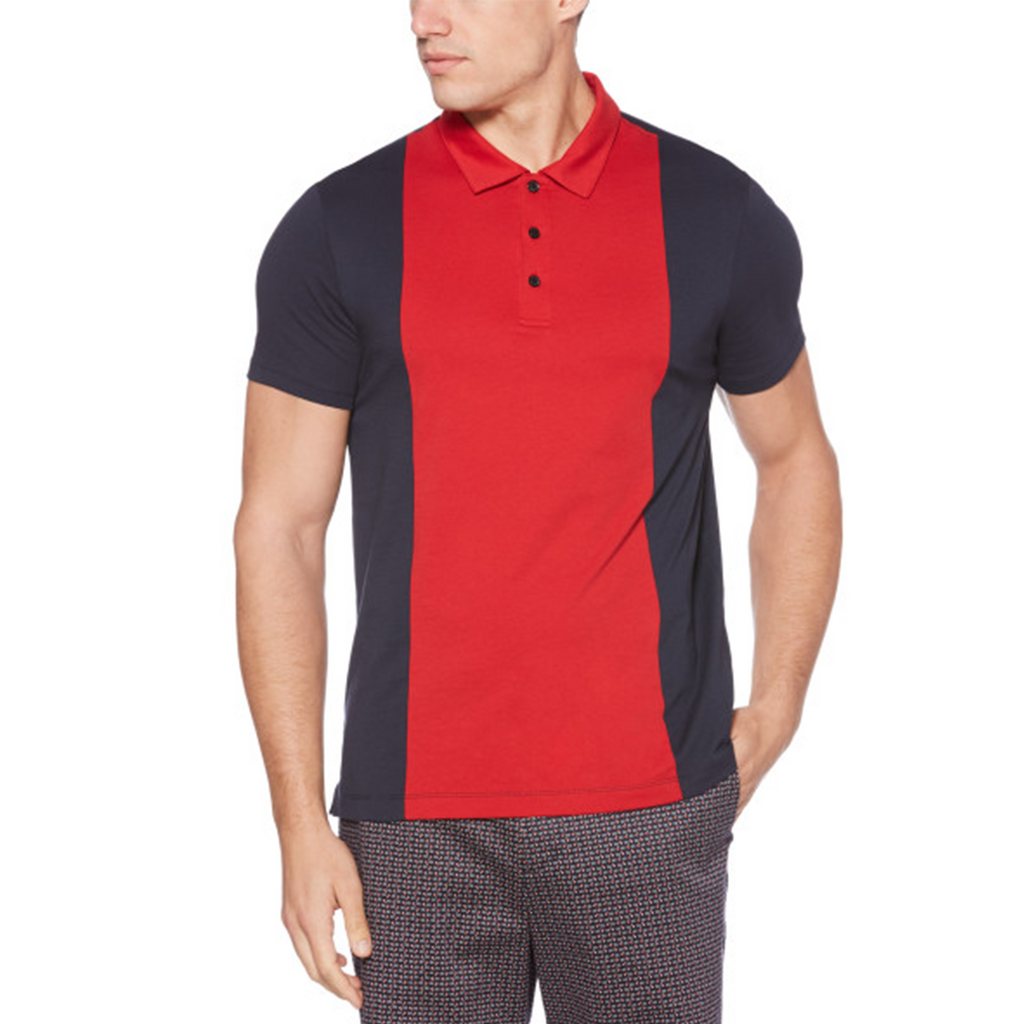 Perry Ellis Color Blocked 3 Button Polo Shirt - Dark Sapphire - ANTHEM
