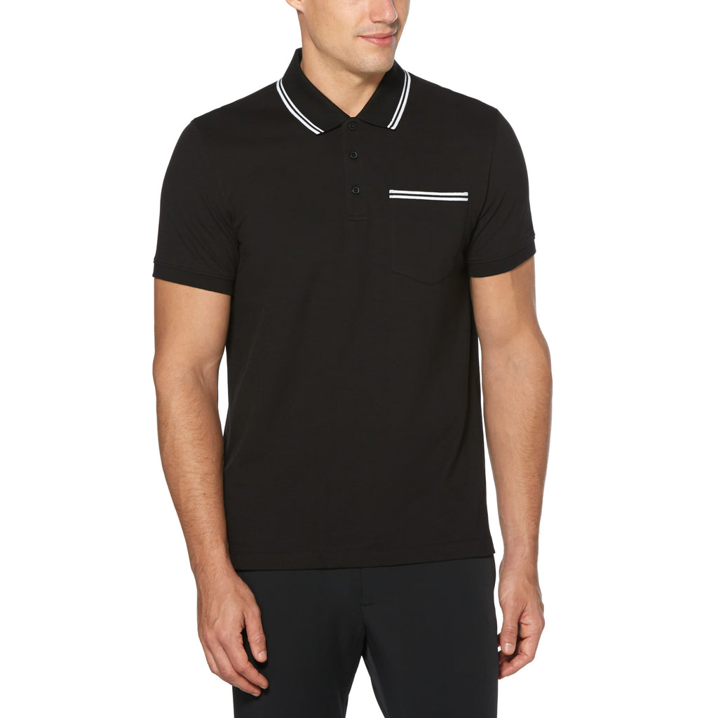 Perry Ellis Chest Pocket 3-Button Pique Polo Shirt - ANTHEM