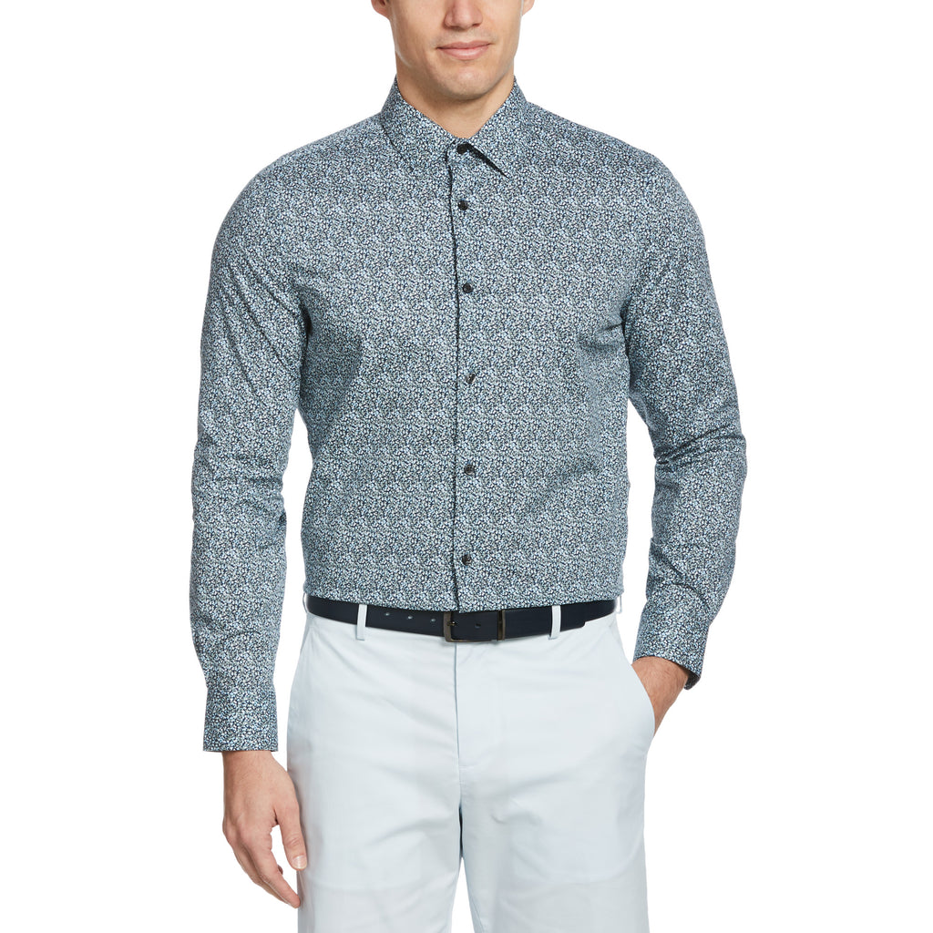 Perry Ellis Micro Floral Long Sleeve Woven Shirt - ANTHEM