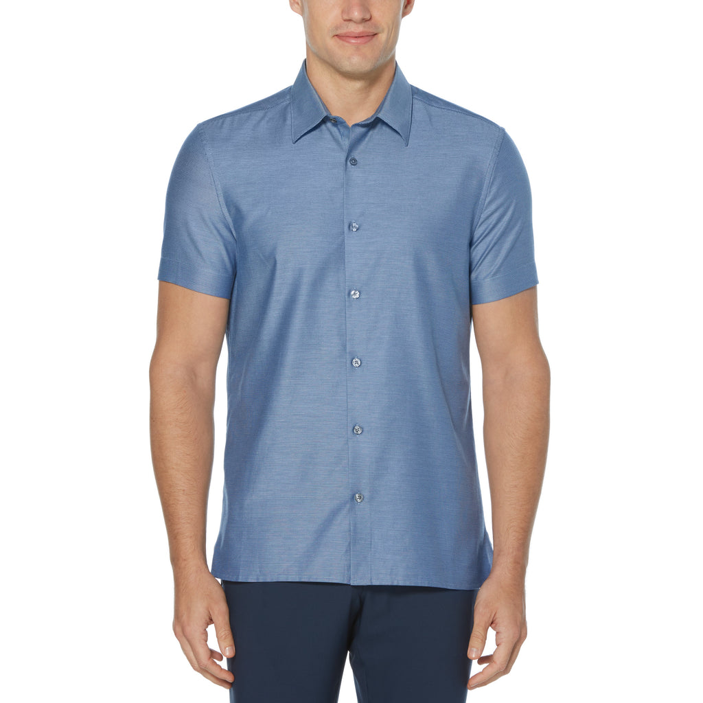 Perry Ellis Solid Dobby Short Sleeve Woven Shirt - ANTHEM