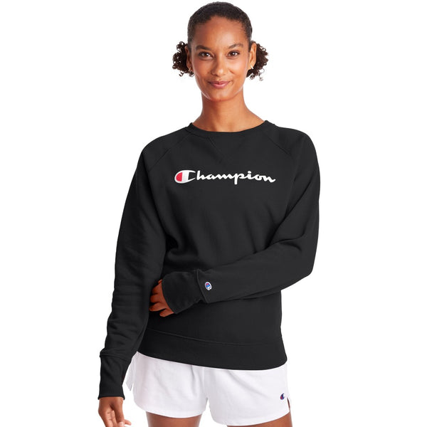 Champion USA Womens Powerblend Graphic Boyfriend Crew Neck Sweatshirt