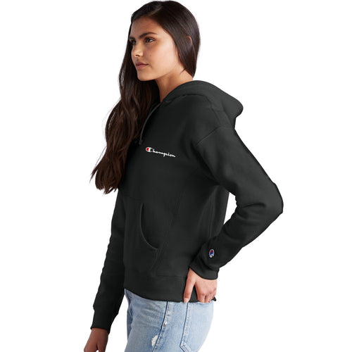 Champion USA Womens Reverse Weave Pullover Hooded Sweatshirt with Script