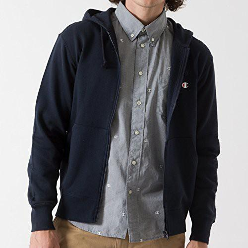 Champion Japan Mens Zip Hooded Sweatshirt Navy - ANTHEM