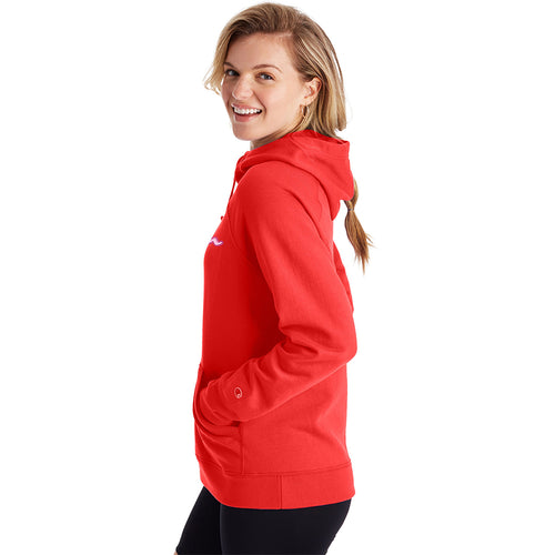 Champion USA Womens Powerblend Applique Hooded Sweatshirt - Red Flame