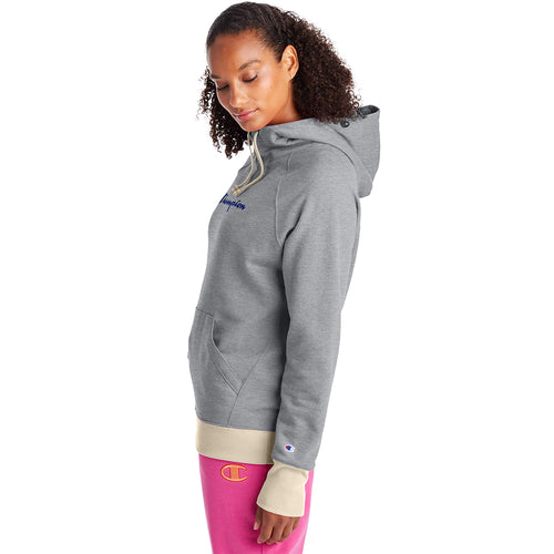 Champion USA Womens Powerblend Graphic Hooded Sweatshirt - Oxford Grey/Oatmeal Heather