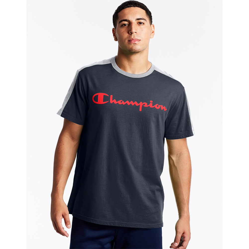 Champion USA Sportstyle Colorblock T-Shirt - Navy/Oxford Grey