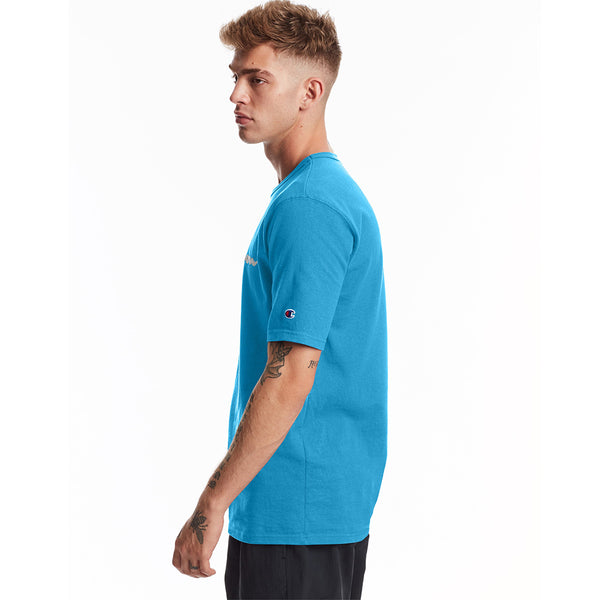 Champion USA Heritage T-Shirt (Embroidered Logo) - Deep Blue Water