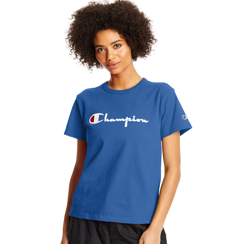 Champion USA Womens Heritage T-Shirt - Deep Blue Water