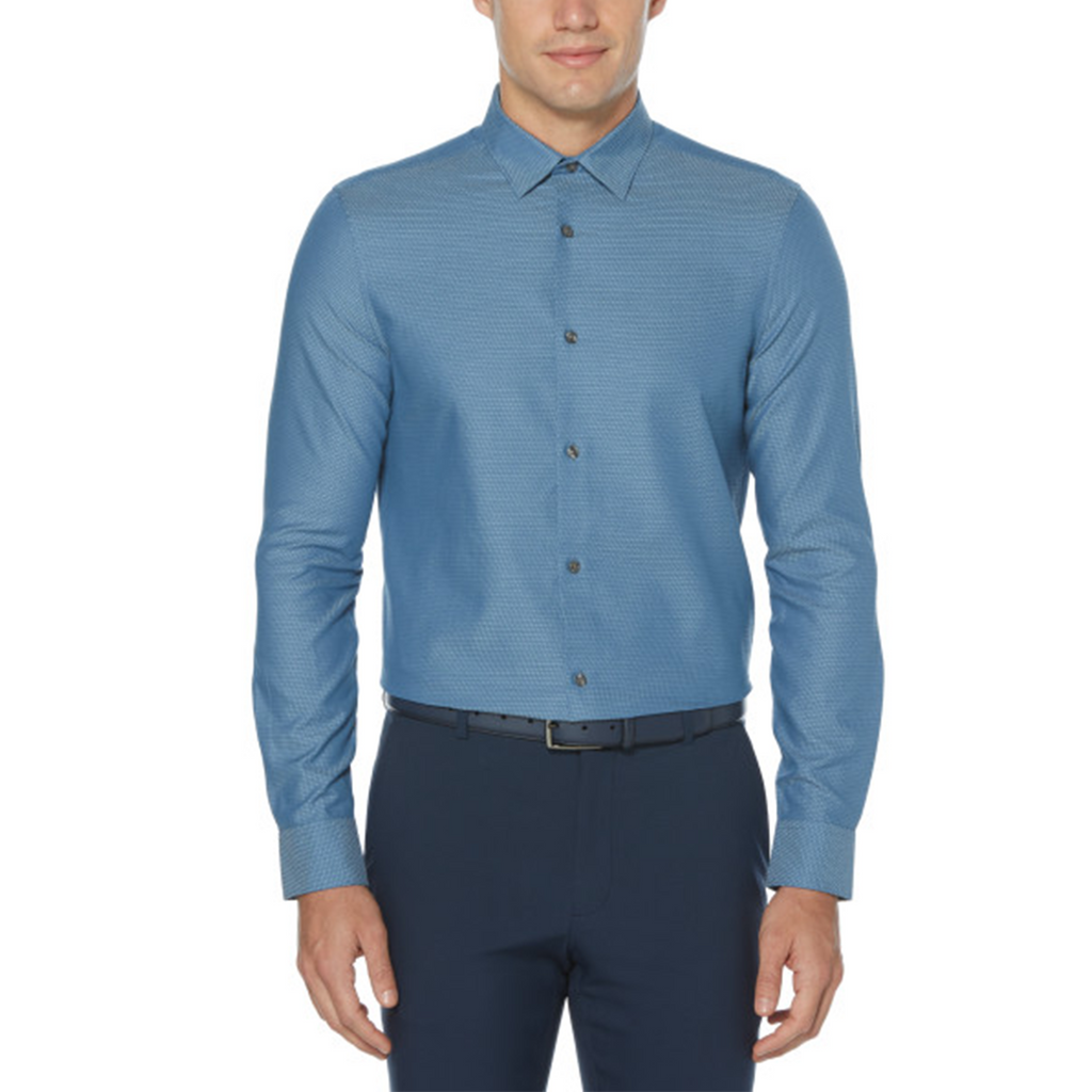 Perry Ellis Slim Fit Long Sleeve Woven Shirt - Kentucky Blue - ANTHEM
