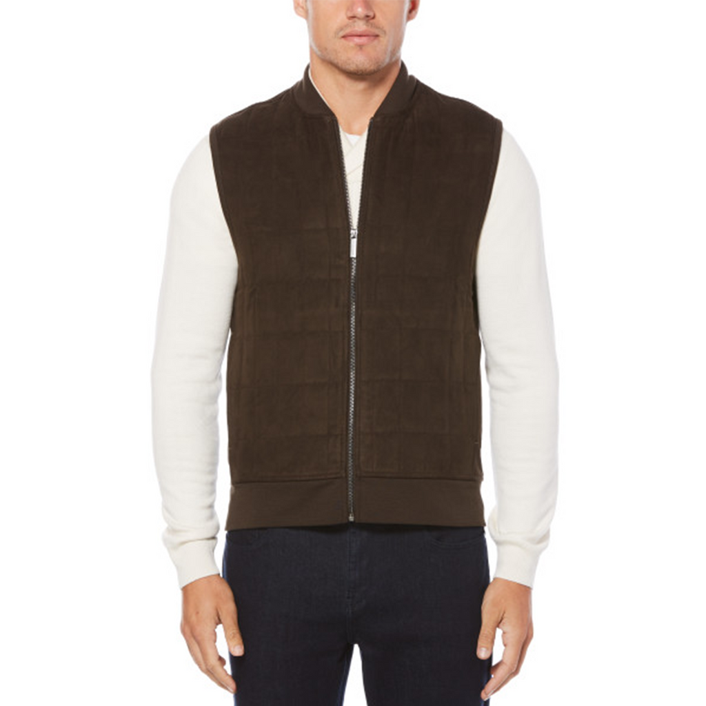 Perry Ellis Suede Quilt Vest - Chocolate Brown - ANTHEM