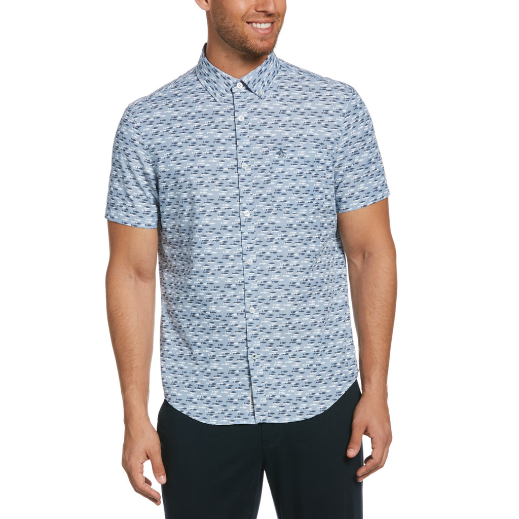 Original Penguin Ditsy Fish Short Sleeve Woven Shirt - ANTHEM