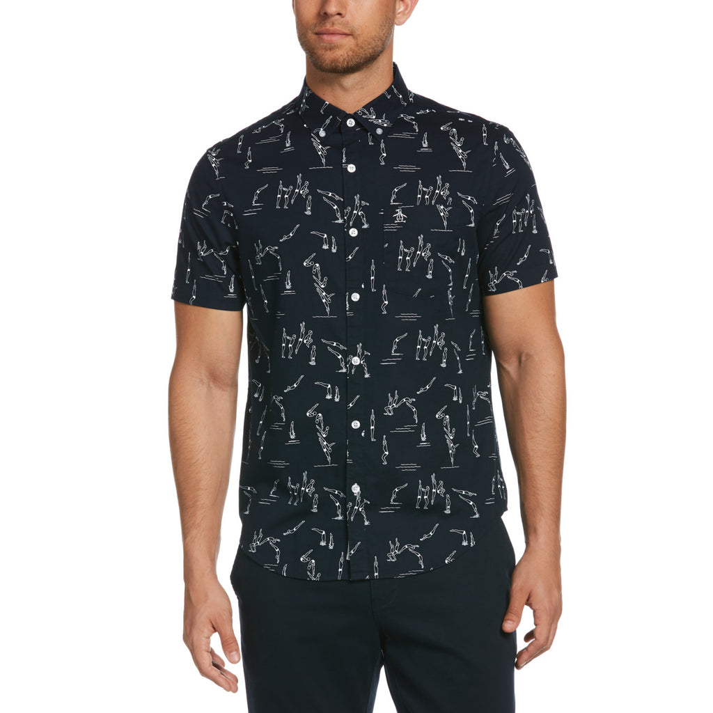 Original Penguin Drawn Divers Short Sleeve Woven Shirt - ANTHEM