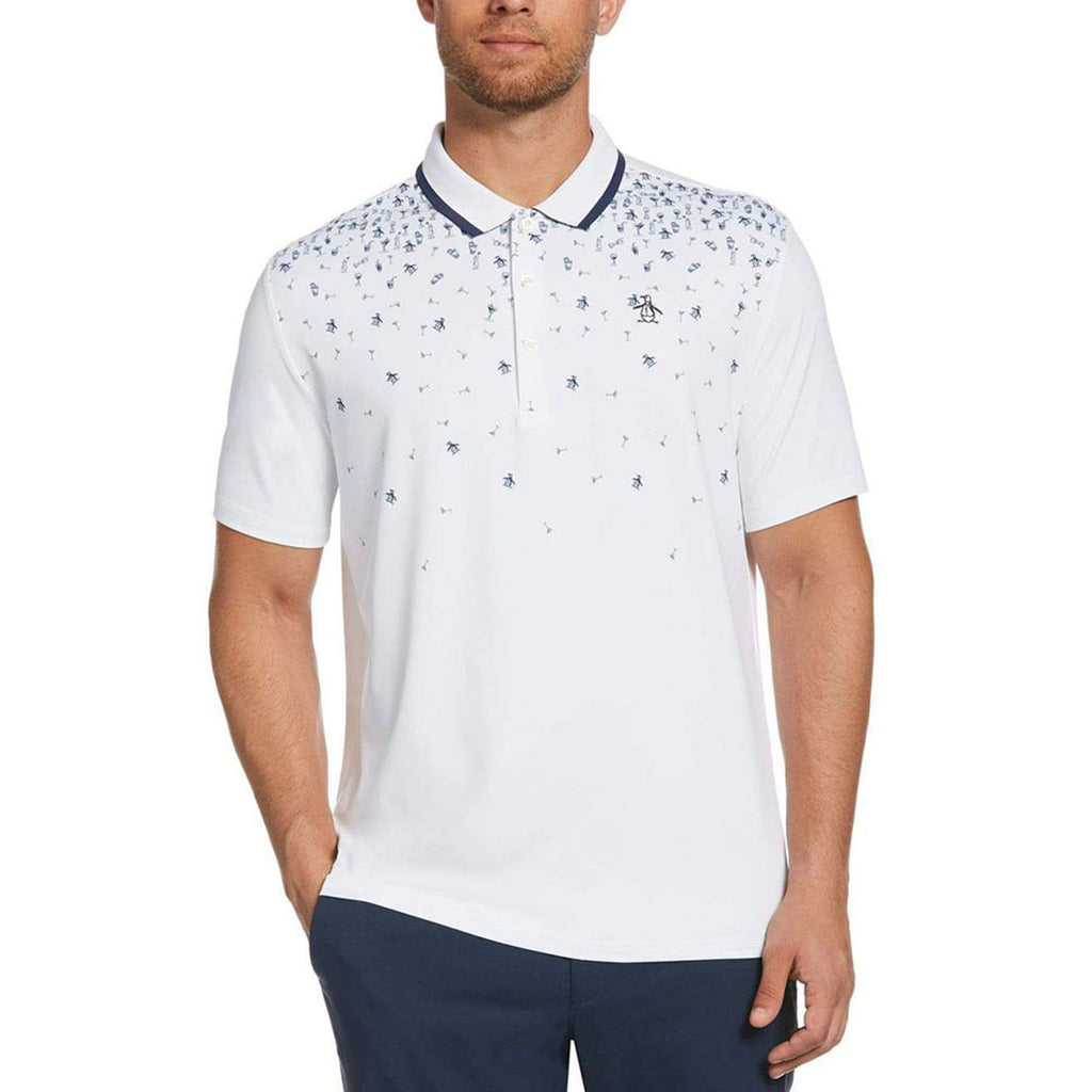Original Penguin Happy Hour Printed Polo Shirt - Bright White - ANTHEM